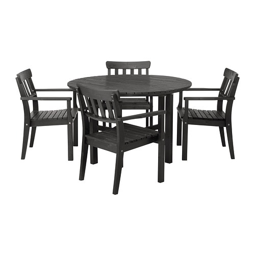 ÄNGSÖ Table and 4 chairs with armrests