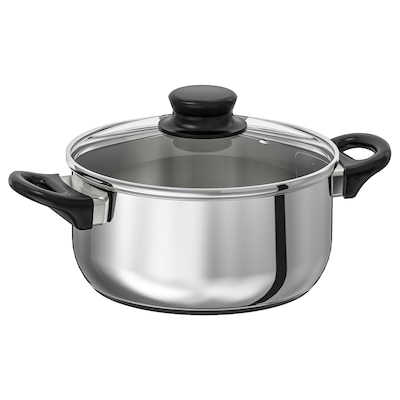 ANNONS Pot with lid, glass/stainless steel, 2.8 l