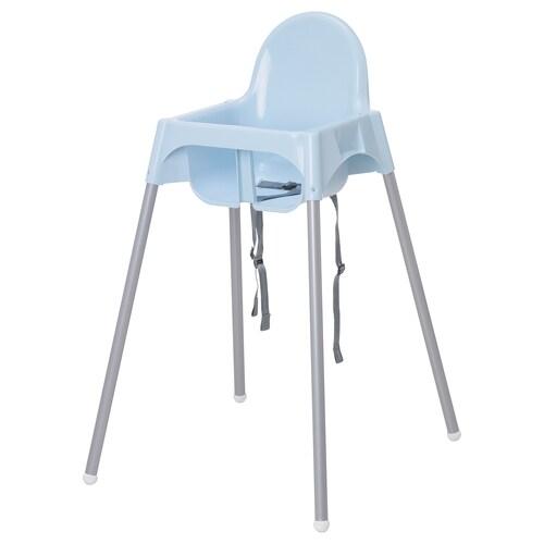 ANTILOP Highchair with safety belt, light blue/silver-colour