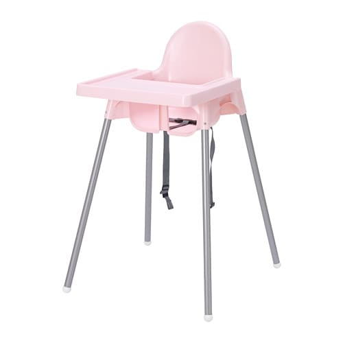 Antilop highchair with tray pink silver colour ikea for High baby chair ikea