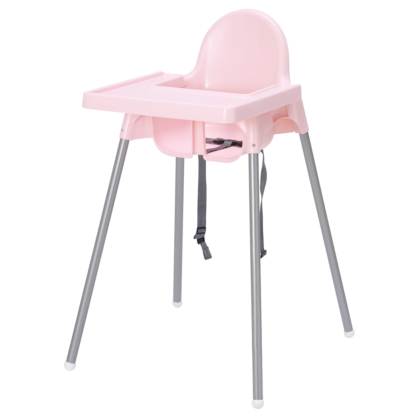 Antilop Highchair With Tray Pink Silver Colour Ikea