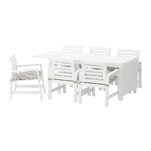 196 Pplar 214 Table 6 Chairs W Armrests Outdoor 196 Pplar 246 White