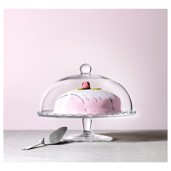 ARV BRÖLLOP Serving stand with lid, clear glass, 29 cm