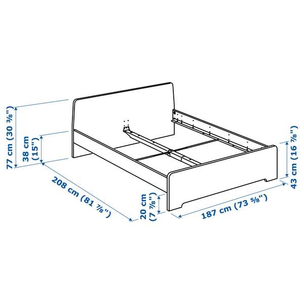 ASKVOLL Bed frame, white/Lönset, 180x200 cm