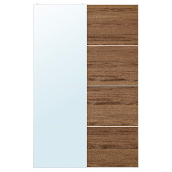 AULI / MEHAMN Pair of sliding doors, mirror glass/brown stained ash effect, 150x236 cm
