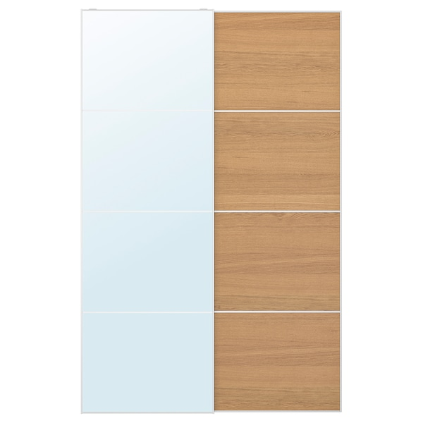 AULI / MEHAMN Pair of sliding doors, mirror glass/oak effect, 150x236 cm
