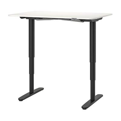 BEKANT Desk sit/stand, white/black, 120x80 cm