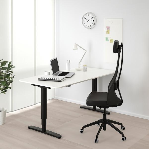 BEKANT Desk sit/stand, white/black, 160x80 cm