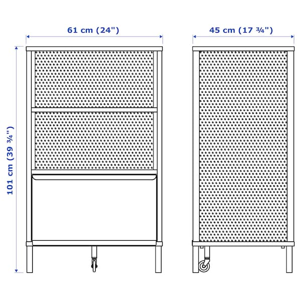 BEKANT Storage unit on legs, mesh black, 61x101 cm