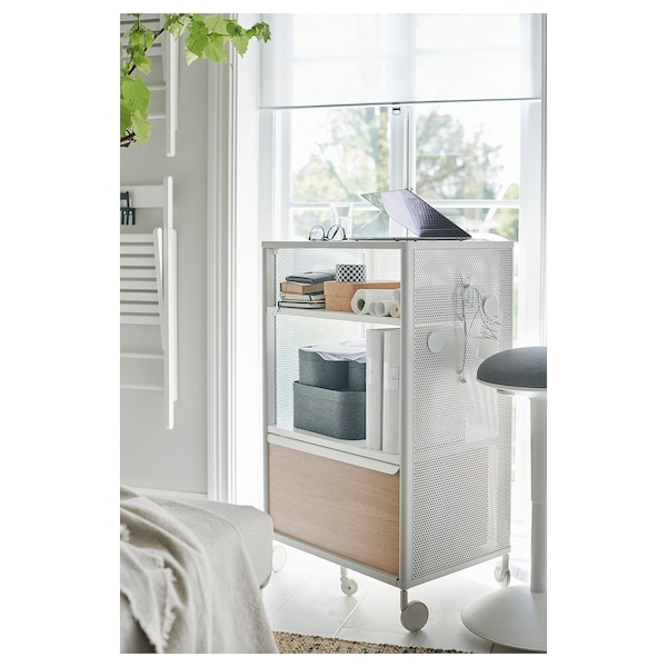 BEKANT Storage unit with smart lock, mesh white, 61x101 cm