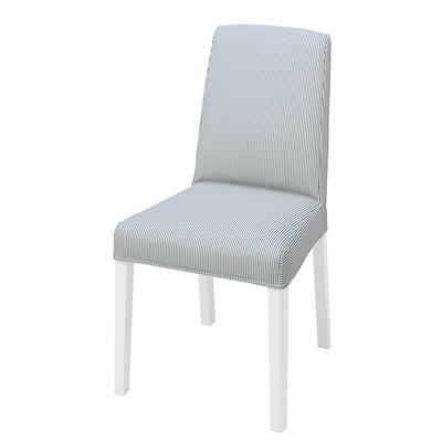 BERGMUND Chair, white/Rommele dark blue/white