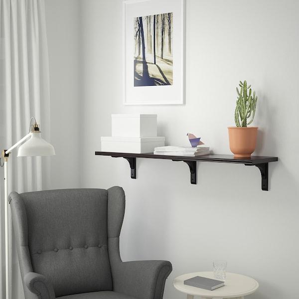 BERGSHULT / RAMSHULT Wall shelf, brown-black, 120x30 cm