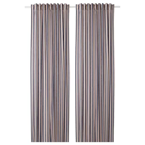 BERGSKRABBA curtains, 1 pair blue/red striped 250 cm 145 cm 1.08 kg 3.63 m² 2 pieces