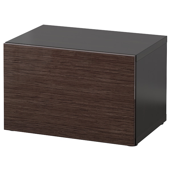 BESTÅ Shelf unit with door, black-brown/Selsviken high-gloss/brown, 60x42x38 cm