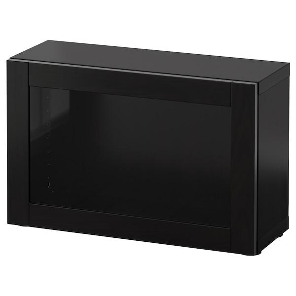 BESTÅ Shelf unit with glass door, black-brown/Sindvik black-brown clear glass, 60x22x38 cm