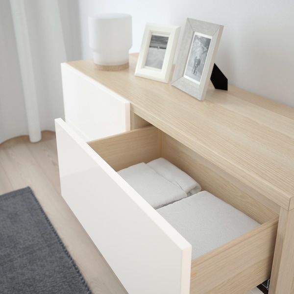 BESTÅ Storage combination w doors/drawers, white stained oak effect/Selsviken/Stallarp high-gloss/white, 120x40x74 cm