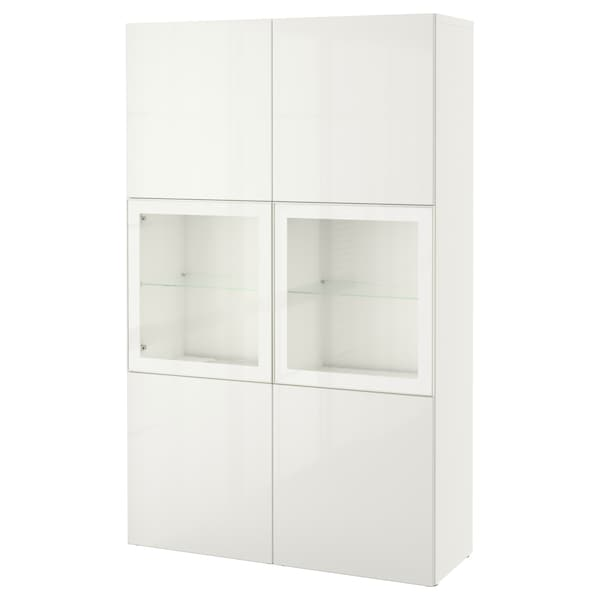 BESTÅ Storage combination w glass doors, white/Selsviken high-gloss/white clear glass, 120x42x193 cm