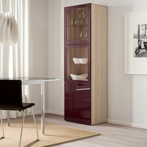BESTÅ Storage combination w glass doors, white stained oak effect Selsviken/dark red-brown clear glass, 60x42x193 cm
