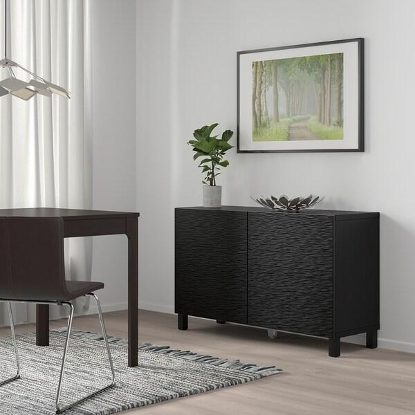 BESTÅ Storage combination with doors, black-brown/Laxviken black, 120x40x74 cm
