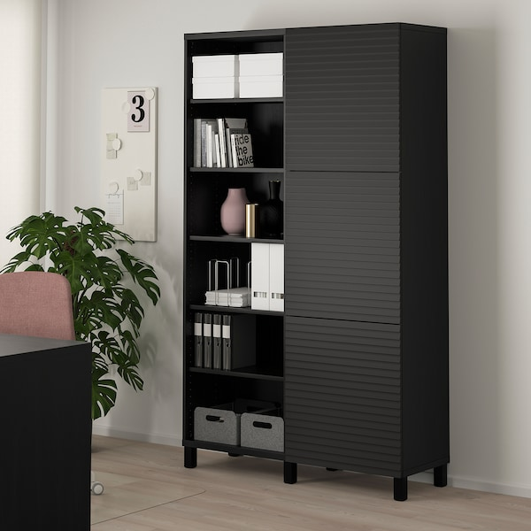 BESTÅ Storage combination with doors, black-brown/Stockviken/Stubbarp anthracite, 120x42x202 cm