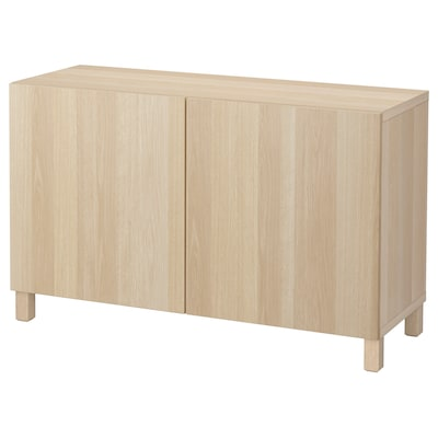 BESTÅ Storage combination with doors, white stained oak effect/Lappviken white stained oak effect, 120x40x74 cm