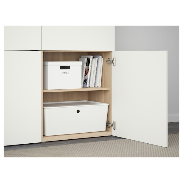 BESTÅ Storage combination with doors, white stained oak effect/Lappviken white, 120x42x193 cm