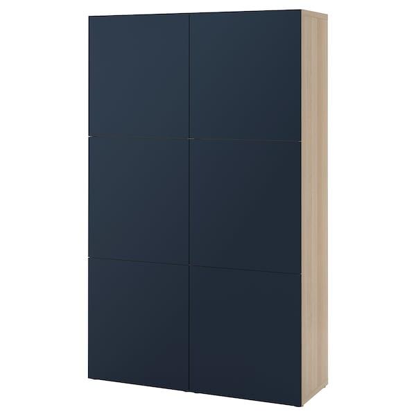 BESTÅ Storage combination with doors, white stained oak effect/Notviken blue, 120x42x192 cm