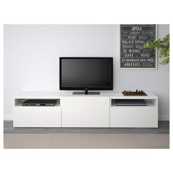 Besta Tv Bench White Selsviken High Gloss White Ikea