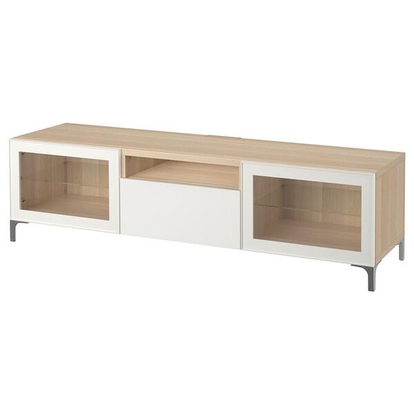 BESTÅ TV bench, white stained oak effect/Selsviken high-gloss/white clear glass, 180x42x48 cm