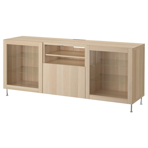 BESTÅ TV bench with drawers, white stained oak effect/Lappviken/Stallarp white stained oak eff clear glass, 180x42x74 cm