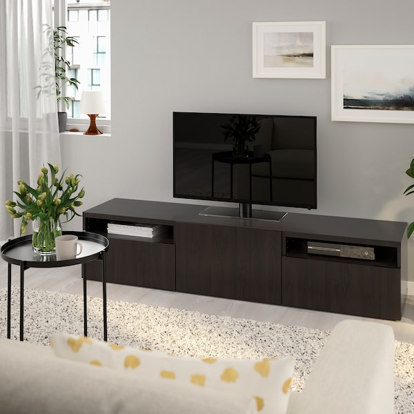 BESTÅ TV bench Lappviken black-brown 180 cm 42 cm 39 cm 50 kg