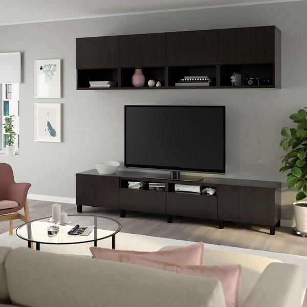 BESTÅ TV storage combination, black-brown/Lappviken/Stubbarp black-brown, 240x42x230 cm