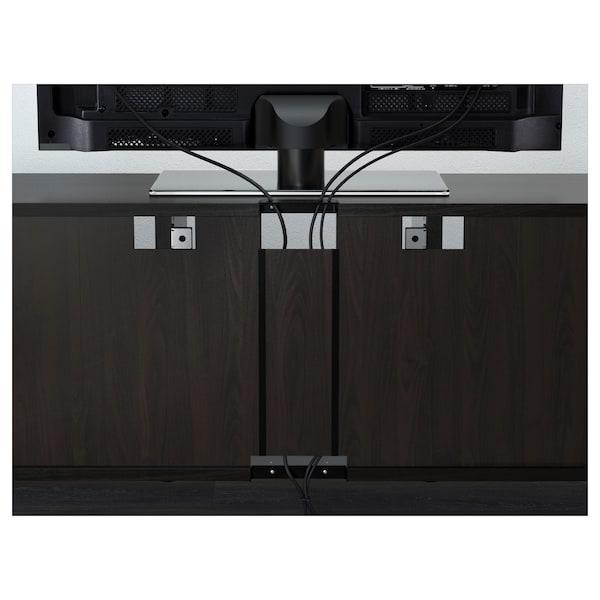 BESTÅ TV storage combination/glass doors, black-brown/Selsviken high-gloss/brown smoked glass, 240x40x230 cm