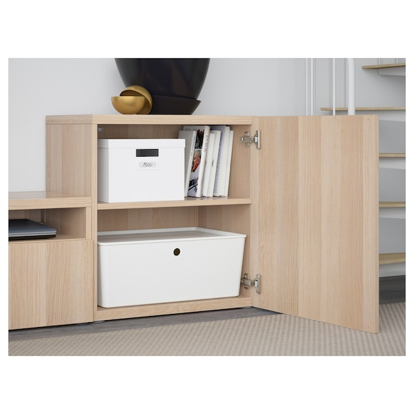 BESTÅ TV storage combination/glass doors, Lappviken/Sindvik white stained oak eff clear glass, 300x20/40x211 cm
