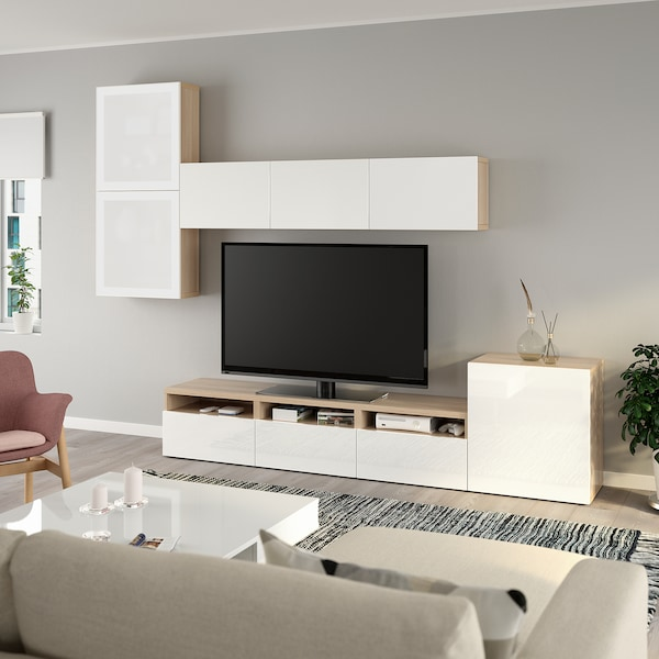 BESTÅ TV storage combination/glass doors, white stained oak effect/Selsviken high-gloss/white frosted glass, 300x20/40x211 cm