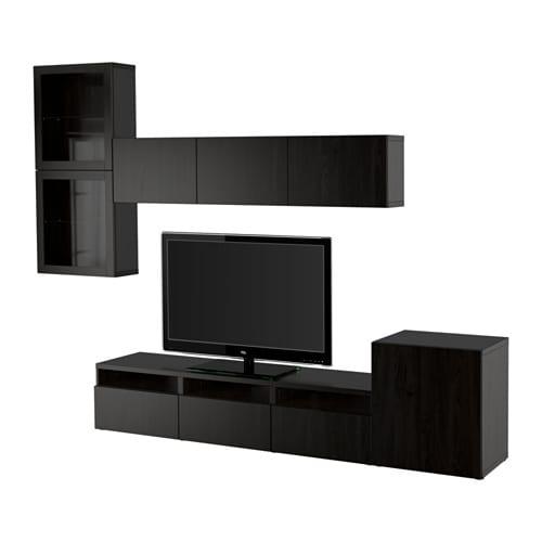 BESTÅ TV storage combination/glass doors - Lappviken/Sindvik black ...