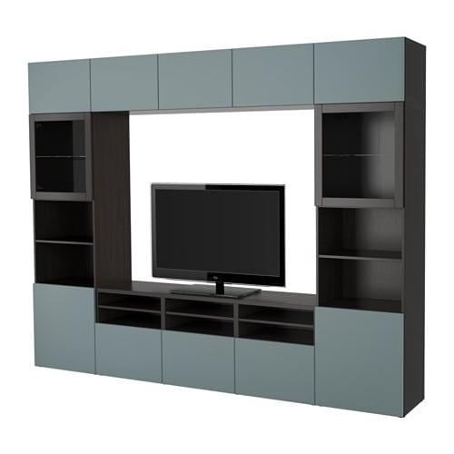 Best Tv Storage Combinationglass Doors Black Brownvalviken Grey