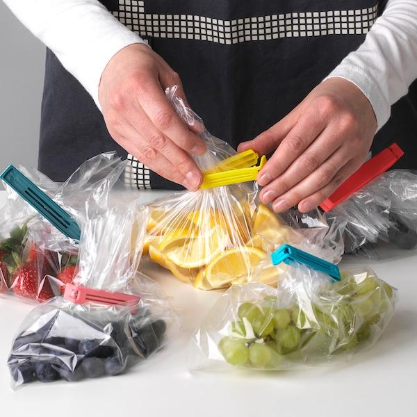 BEVARA Sealing clip, set of 30, mixed colours/mixed sizes