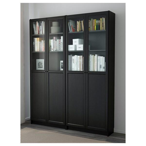 BILLY / OXBERG Bookcase, black-brown, 160x30x202 cm