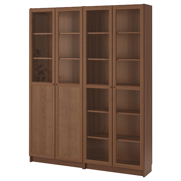 BILLY / OXBERG Bookcase with panel/glass doors, brown ash veneer/glass, 160x30x202 cm