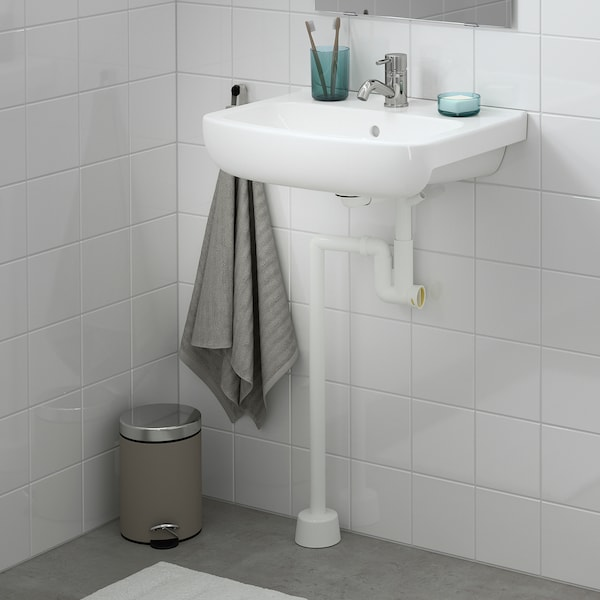BJÖRKÅN Wash-basin w water trap/mixer tap, white/Pilkån tap, 54x40 cm