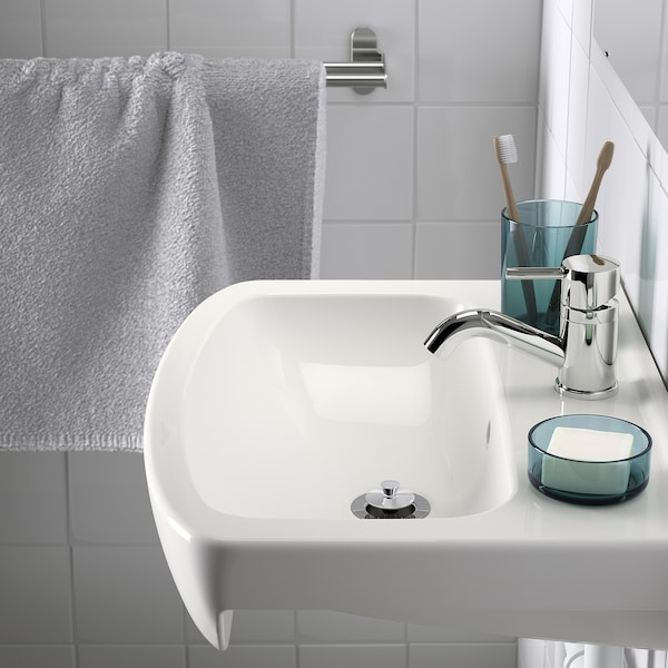 BJÖRKÅN Wash-basin with water trap, white, 54x40 cm