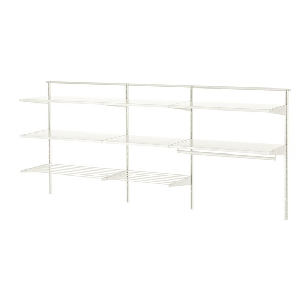 BOAXEL 3 sections, white/metal, 222x40x101 cm