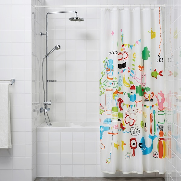 BOTAREN Shower curtain rod, white, 120-200 cm