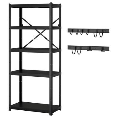 BRANDUR / BROR Shelving unit w 2 rails/10 hooks