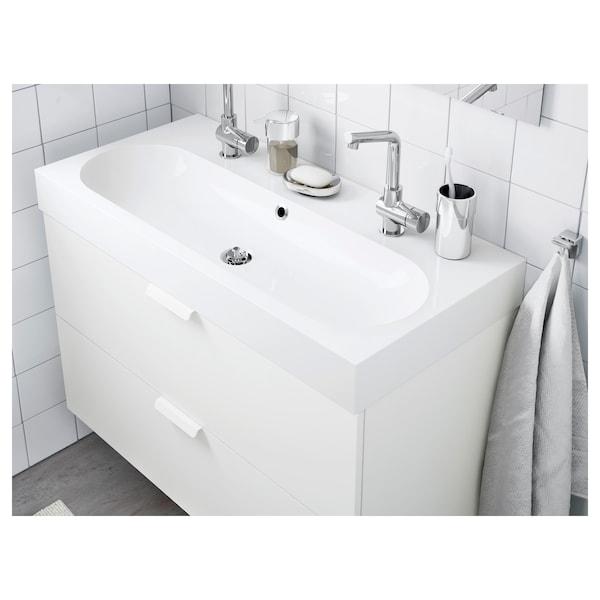 BRÅVIKEN Single wash-basin, white, 100x48x10 cm