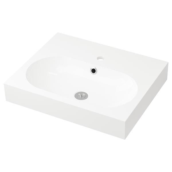 BRÅVIKEN Single wash-basin, white, 61x49x10 cm