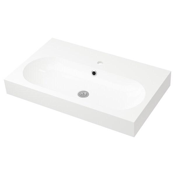 BRÅVIKEN Single wash-basin, white, 80x48x10 cm