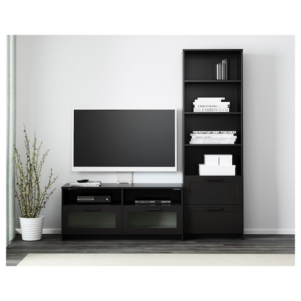 BRIMNES TV storage combination, black, 180x41x190 cm