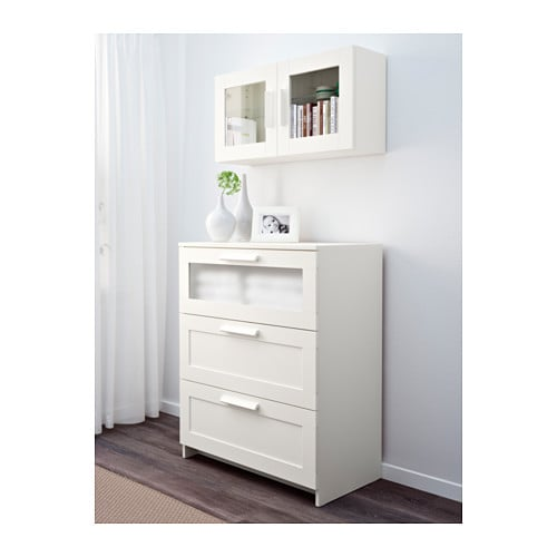 BRIMNES Wall cabinet with glass door - black - IKEA